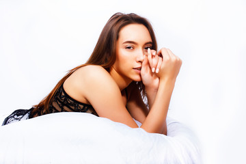 young pretty woman laying waiting sexy in bed, lifestyle people concept