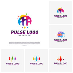 Set of Colorful Pulse logo design concept vector. People Beat logo Template Vector.