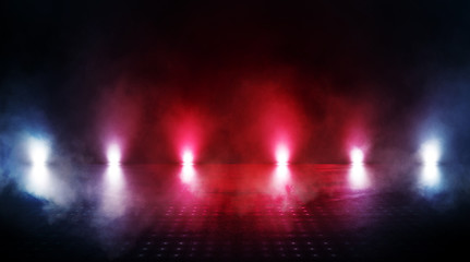 Empty scene of a show with lanterns and concrete floor, abstract background with bokeh, lights, rays