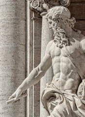 Trevi Fountain, Rome Italy, sculpture close up