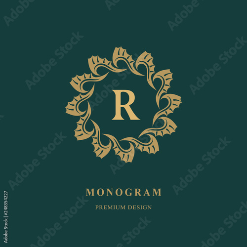 Art Logo Design Capital Letter R Elegant Round Emblem