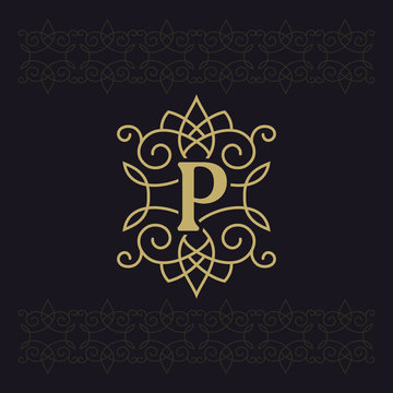 Capital letter P. Beautiful monogram. Elegant logo. Calligraphic design. Luxury emblem. Vintage ornament. Simple graphics style. Flourishes boutique brand on black background. Vector illustration