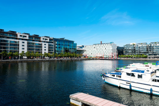 Detail of the Docklands area of Dublin featuring the Bord Gais Theatre in 10. September 2014, Dublin ( Ireland )