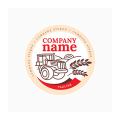 Tractor logo. Agro company logotype. Vector illustration tractor and countryside. Farm symbol. Label for agricultural company. Red and brown icon.