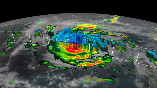 Graphic representation of the interior of a hurricane. Elements of this image furnished by NASA