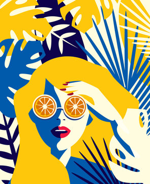 Vector illustration of a girl with glasses of oranges among tropical plants. Summer concept in vintage style