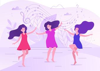 Dancing women vector illustration.
