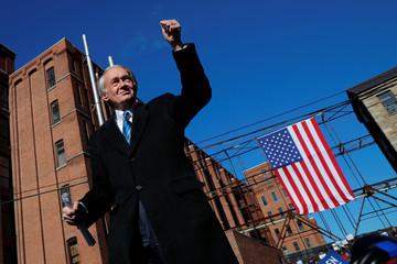 U.S. Senator Ed Markey takes the stage to introduce U.S. Senator Elizabeth Warren at a rally in Lawrence