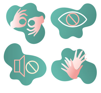 Sign language,blind, deaf, disabled icon, Web, Accessibility, Application Icons, vector set