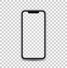 New black concept of mobile phone with camera and volume buttons, transparent screen and isolated, vector quality.