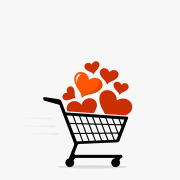 Shopping cart and heart icon