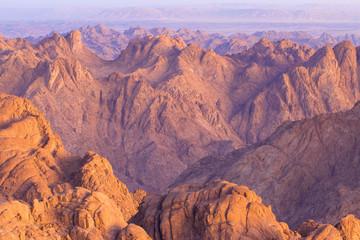 Fotobehang Bordeaux Amazing Sunrise at Sinai Mountain, Beautiful dawn in Egypt, Beautiful view from the mountain