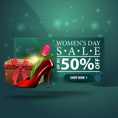 Women's day discount modern green banner with women's Shoe with tulips inside