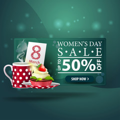 Women's day discount modern green banner with cup of tea with cupcake
