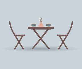 Wooden garden furniture or a set of furniture for the balcony: a  folding table and chairs on a blue background. On table dusty pink vase with flowers and a Cup of coffee or tea.Vector illustration