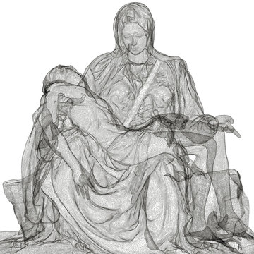 Pietà di Michelangelo, scansione in 3d, rappresentazione in wire, deposizione del cristo, Crocefissione, Arte, Scultura, Illustrazione 3d