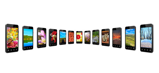 Smartphones with different pictures in row isolated. Digital technologies