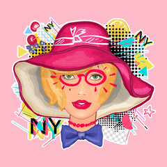 Beautiful woman in a hat. Zine culture style. Hand drawn vector art, fashion contemporary collage