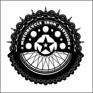 Motorcycle wheel and chain - Motorcycle vector elements for vintage custom logos