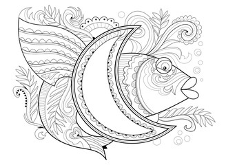 Black and white page for coloring book. Fantasy drawing of fairyland fish and moon. Pattern for print, embroidery, Henna, Mehndi, tattoo and decoration. Worksheet for children and adults. Vector image