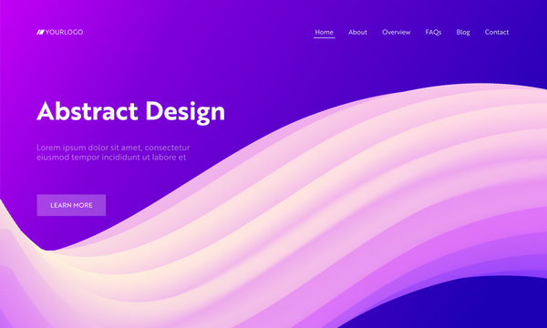 Abstract Geometric Futuristic Wave Shape Landing Page Background