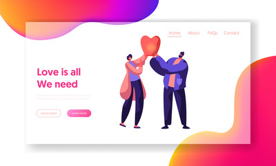 Cute Cheerful Boy and Girl Launch Sky Lantern in the Park Landing Page. Beautiful Couple in Love on Social Networks. Lovers Meeting Character Website or Web Page. Flat Cartoon Vector Illustration