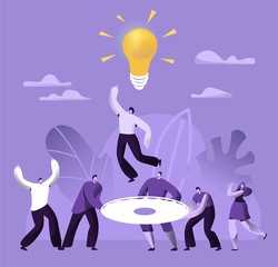 Creative Teamwork Business Success People Work Together. Financial Team Building Communication Strategy Solution. Collaboration Idea Development Concept Flat Cartoon Vector Illustration