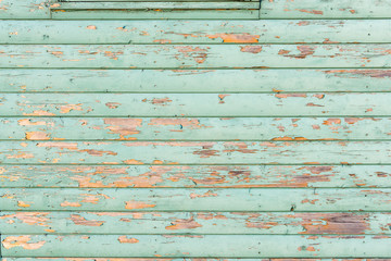 Section of light green distressed wood panelling from a seaside beach hut. Perfect as a background for Summer Holiday or seaside themes.