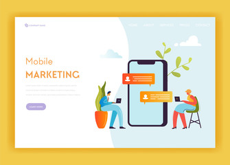 Digital Marketing Technology Landing Page Template. Social Media Networking Concept with People Characters Content Strategy Management Website Banner. Vector illustration
