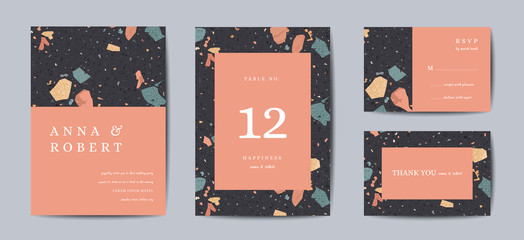 Terrazzo Wedding Invitation Card Set. Luxury Geometric Abstract Vintage Design Template for Greetings, Banner, Poster with Marble Texture. Save the Date, RSVP. Vector illustration