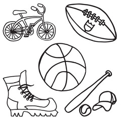 Set of sport equipment doodle icons