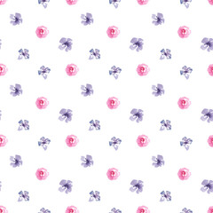 Watercolor hand painted botany purple flowers illustration seamless pattern on white background