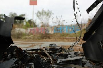 Abandoned Lot: Graffiti Wall Through Broken TV