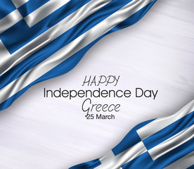 Vector illustration of Happy greece Waving flags isolated on gray background,25 march.