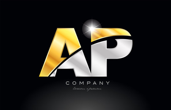 combination letter ap a p alphabet with gold silver grey metal logo