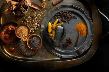 Spices on Old Tray