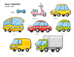 Self-balancing board, motor scooter, automobile, bus, sportscar, city electric car, delivery van, truck isolated. Road transport vector set.