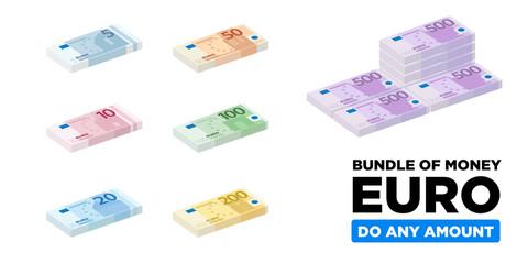 Euro money isometric and minimalistic bundle of Europe, paper money - vector one size