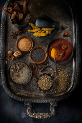 Overhead view of spices on tray