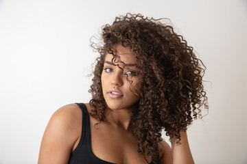 Beauty portrait of african american woman with afro hairstyle and glamour makeup