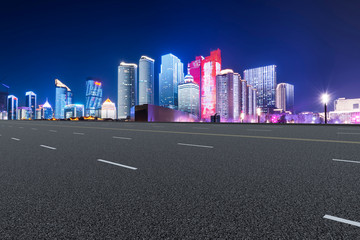Highway Road and Skyline of Modern Urban Architecture in Qingdao..