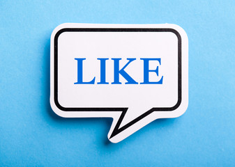 Like Text Speech Bubble Isolated On Blue