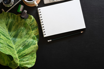 Open blank note book, photographer workplace with leather dark background and copy space