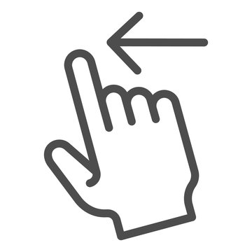 Swipe left line icon. Flick left vector illustration isolated on white. Gesture outline style design, designed for web and app. Eps 10.