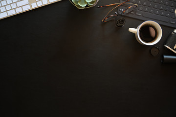 Office leather desk table with computer, coffee cup and copy space