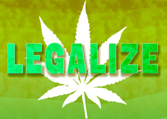 Legalize marijuana concept image with word text on green gradient wave background with smoke and cannabis hemp plant weed art