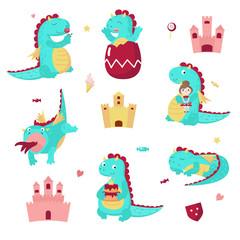 Cute dragon icon set, vector isolated illustration