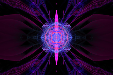 Pink black Geometric fractal shape can illustrate daydreaming imagination psychedelic space dreams magic nuclear explosion frequency patterns radiation concepts.