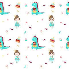 Vector seamless pattern with beautiful princess and dragon