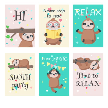 Vector set of cards with cute sloths and quotes